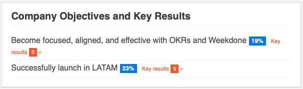 Company OKR summary