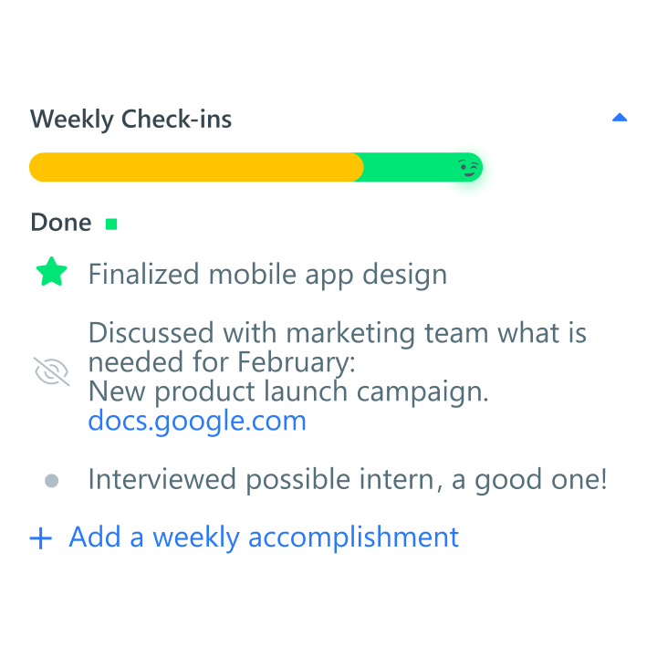 Weekly Check-ins mobile