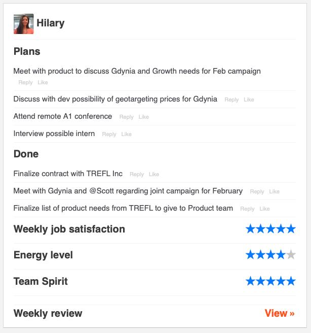 Hilary weekly status