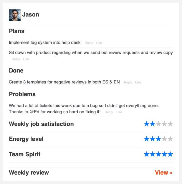 Weekly Progress report from Jason