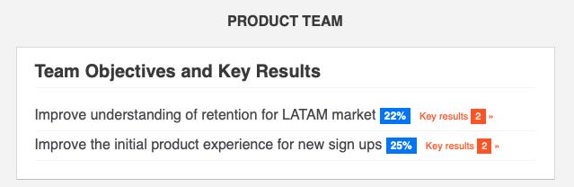 Product Team OKR update