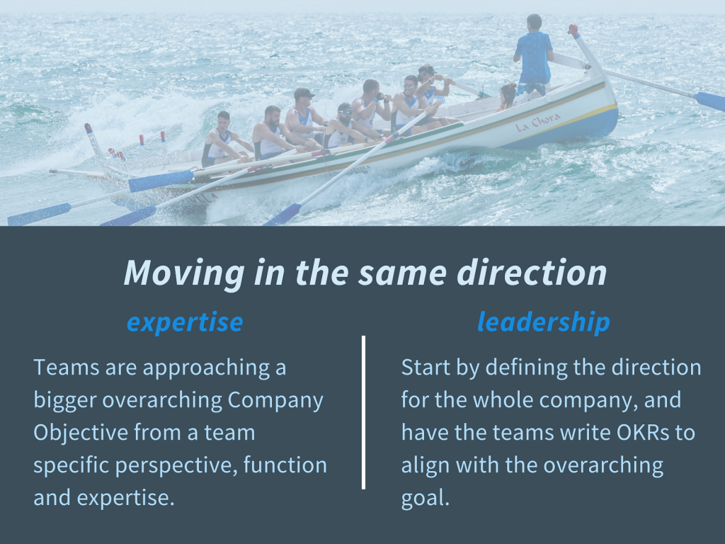 Moving in the same direction. Benefit of expertise and leadership.