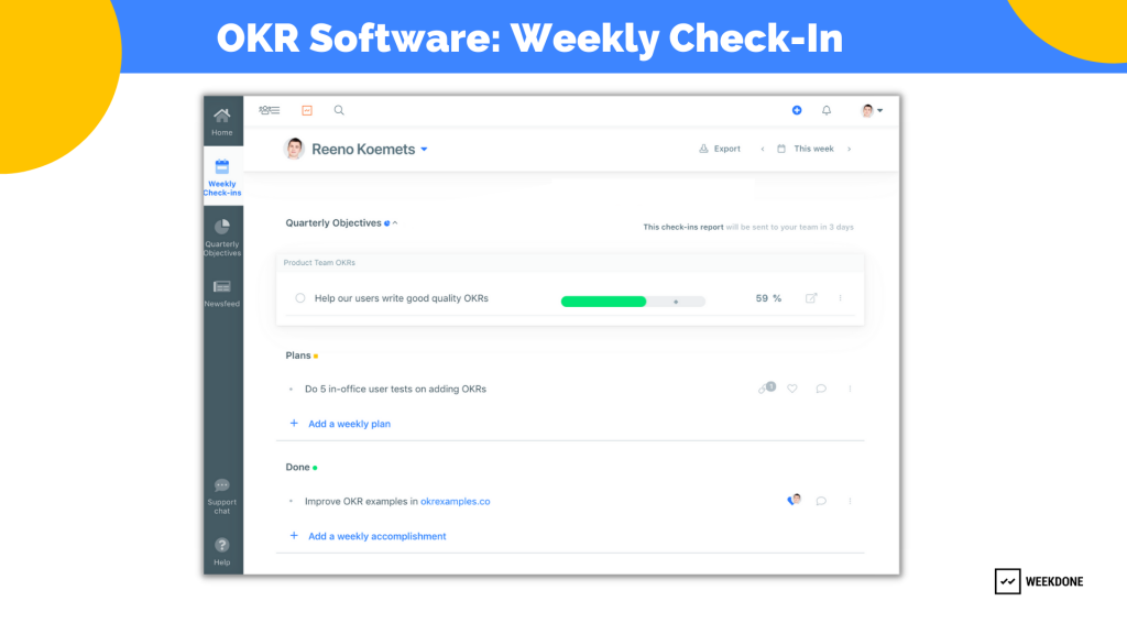 OKR Software: Weekly Check-in