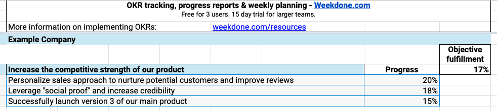 OKR report spreadsheet template example