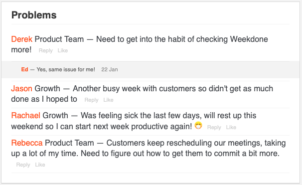 Problems weekly summary
