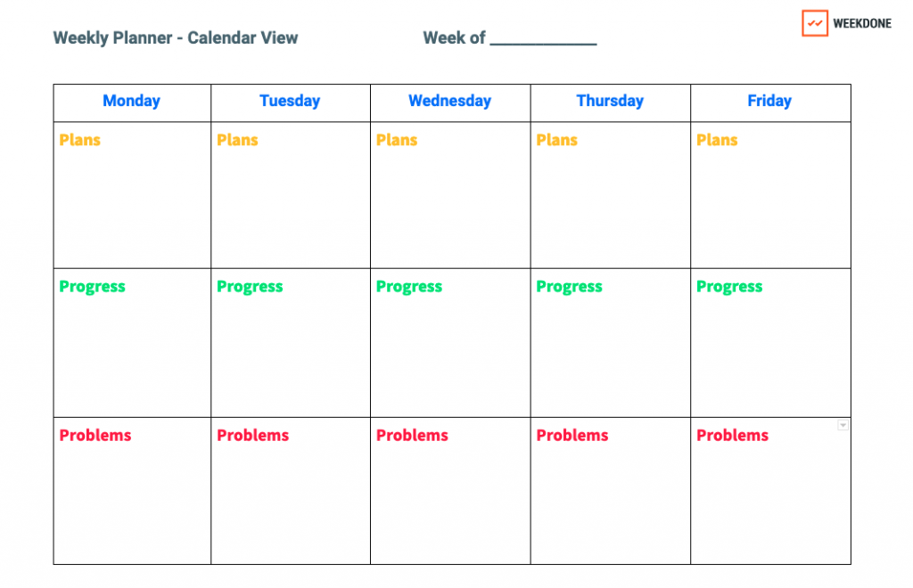 progress report template calendar view